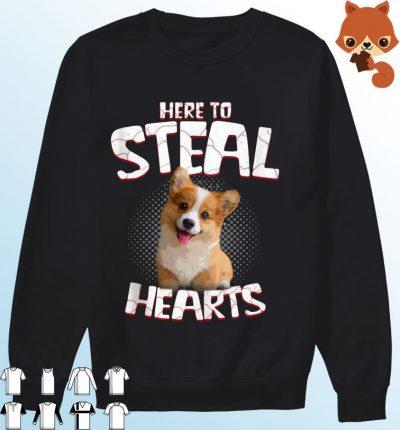 Corgi Here To Steal Hearts Shirt Sweater