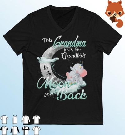 Cute Elephant This Grandma Loves Her Grandkids To The Moon And Back Shirt