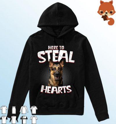 German Shepherd Here To Steal Hearts Shirt Hoodie