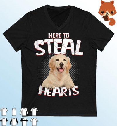 Golden Retriever Here To Steal Hearts Shirt